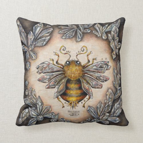 Crystal bee throw pillow