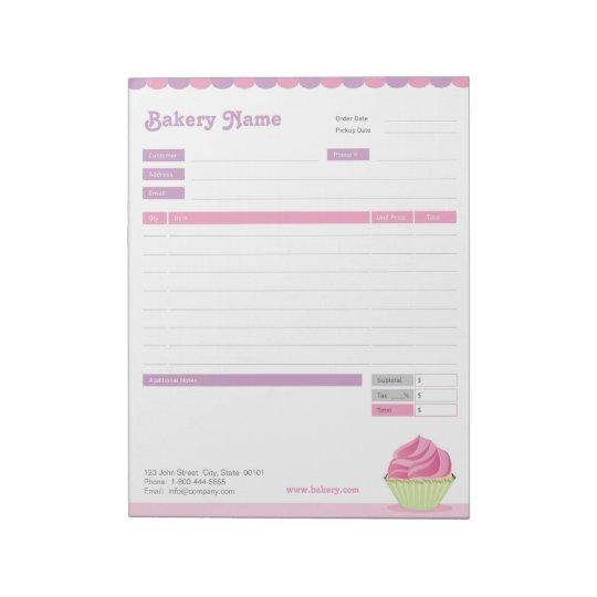 Cupcake Bakery Order Form Or Invoice Notepad Zazzlecom