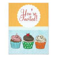 Cupcakes Sweet Birthday or Shower Invitation