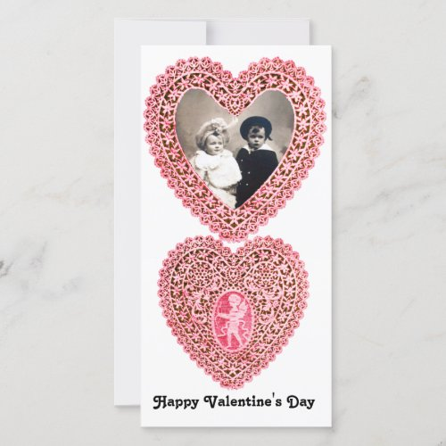 CUPID LACE HEART  , pink red white Holiday Card