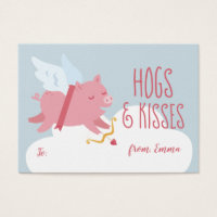 Cupid Pig Activity Classroom Valentine Business Card