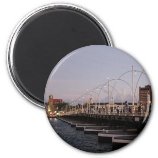 Curaçao Queen Emma Pontoon Bridge at Dusk Refrigerator Magnets