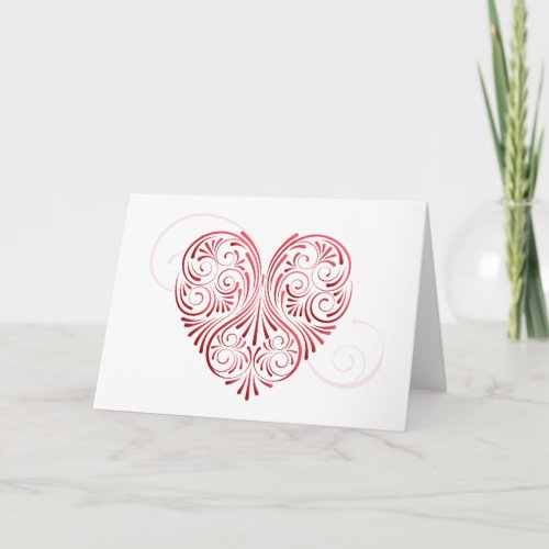 Curly Heart Valentine Card