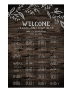 Curved branch wooden alphabetical seating chart also wedding charts zazzle rh