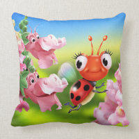 Cushion with cute Ladybug & friendly Snap Dragons