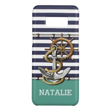 Custom Art Stripes Pattern Retro Boat Anchor Case-Mate Samsung Galaxy S8 Case