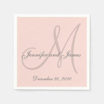 Custom Blush Pink Colored Monogram Paper Napkins