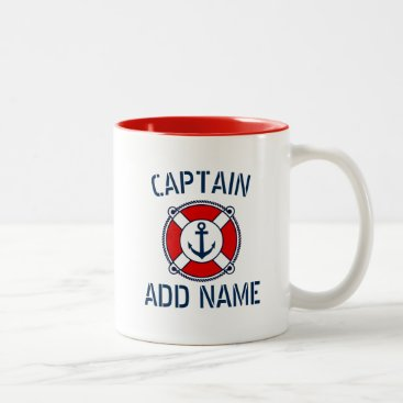 Custom boat captain name navy anchor ring buoy mug