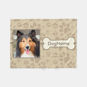 Custom Brown Paw Prints For Dogs Fleece Blanket