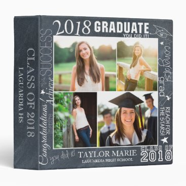 Custom Chalk Graduation 2018 Photo Scrapbook Binder