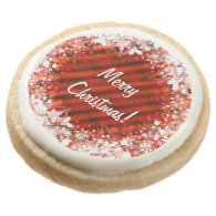 Custom Christmas Cookies - Red & White Round Premium Shortbread Cookie