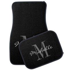 Custom classy black and white monogram car mat set
