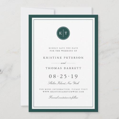 Custom Color Monogram Save the Date Card