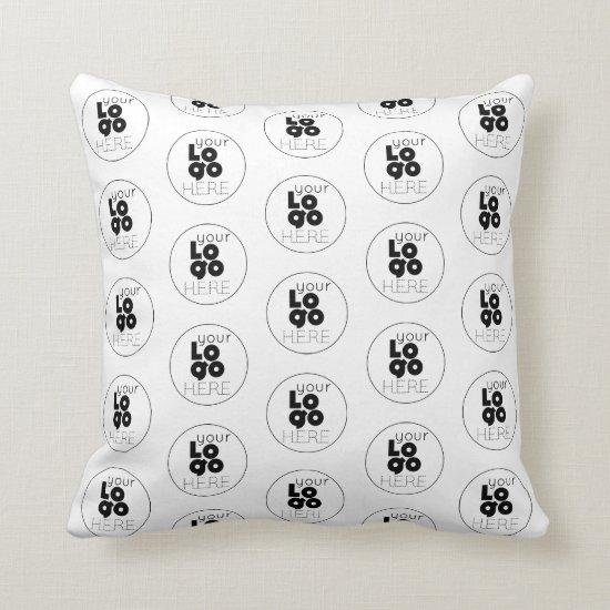 Custom Company Black Logo Pattern on White Throw Pillow