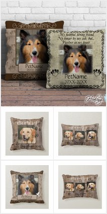 Custom Dog Memorial Keepsake Throw Pillows