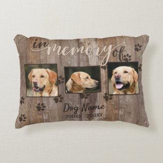 Custom Dog Memorial Rustic Wood Look Accent Pillow