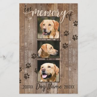 Custom Dog Memorial Rustic Wood Look Announcement