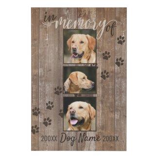 Custom Dog Memorial Rustic Wood Look Faux Canvas Print