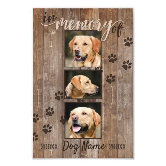 Custom Dog Memorial Rustic Wood Look Keepsake Photo Print