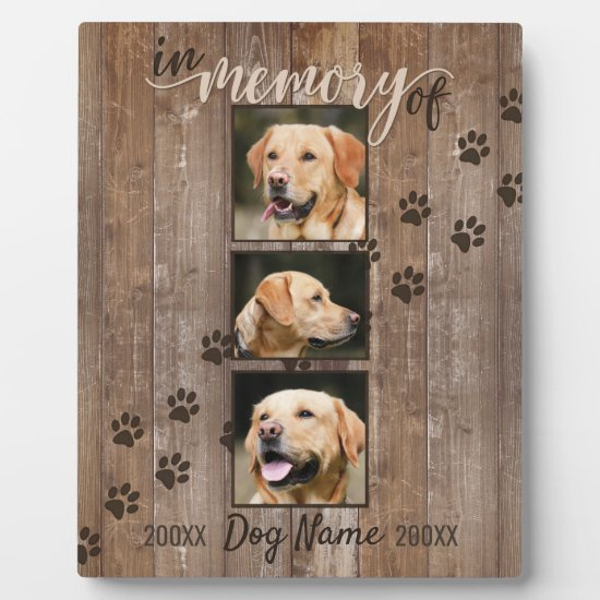 Custom Dog Memorial Rustic Wood Look Keepsake Plaque