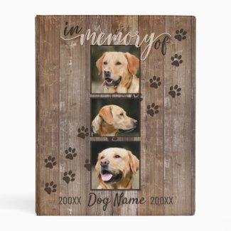 Custom Dog Memorial Rustic Wood Look Mini Binder