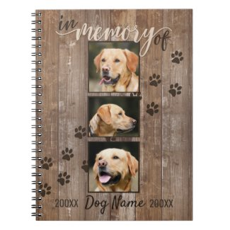 Custom Dog Memorial Rustic Wood Look Notebook