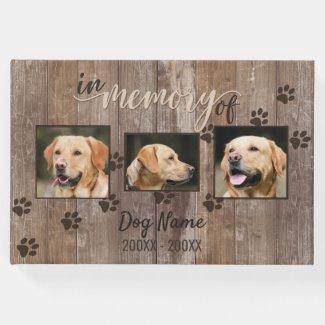 Custom Dog Memorial Rustic Wood Look Remembrance Guest Book