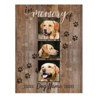 Custom Dog Memorial Rustic Wood Look Sympathy Postcard