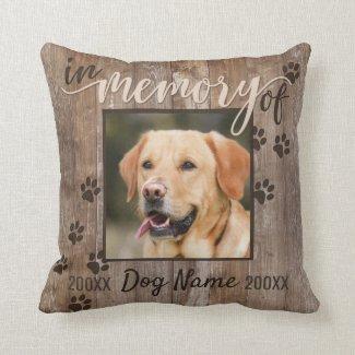 Custom Dog Memorial Rustic Wood Look Throw Pillow