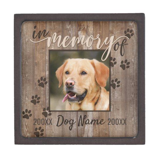 Custom Dog Memorial Rustic Wood Look Urn Gift Box