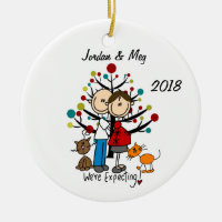 Custom Expectant Couple With Two Cats Ornament
