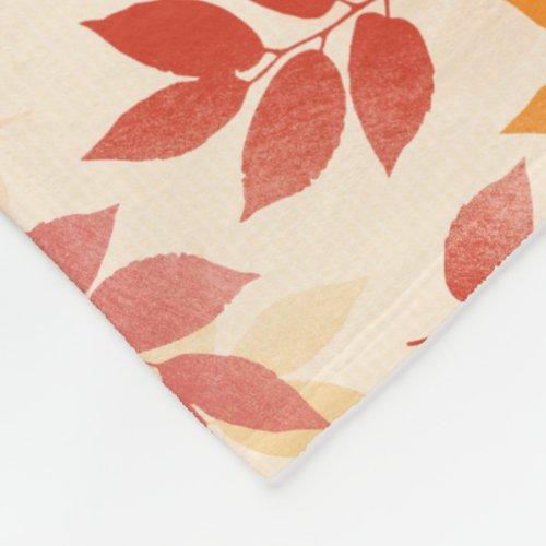 Custom Fleece Blanket Autumn Leaves Pattern