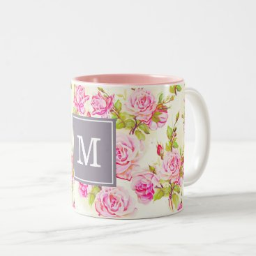 Custom Floral Pattern Old Rose Monogram Mug