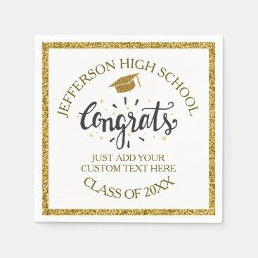 Custom Graduation Congrats Grad Gold Class of 2018 Paper Napkin