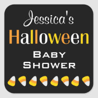 Custom Halloween Baby Shower Candy Corn Stickers