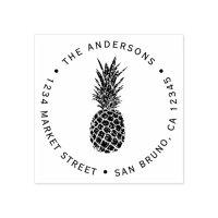 Custom Modern Pineapple | Round Return Address Rubber ...