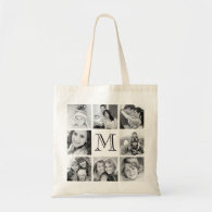 Custom Monogram Photo Collage Tote Bag