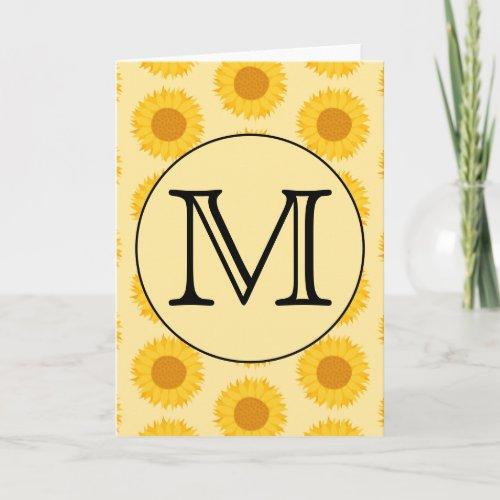 Custom Monogram, with Yellow Sunflowers. Note Card