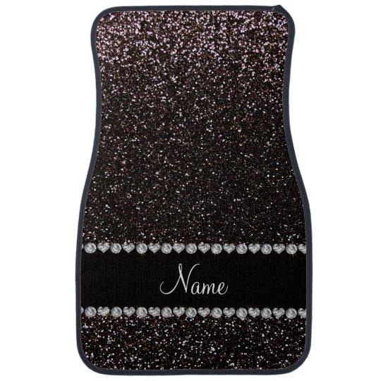 Custom name black glitter black stripe car floor mat  Zazzle