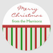 Custom Name Christmas Stripe Stickers