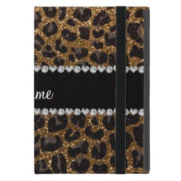 Custom name gold glitter leopard print iPad mini case