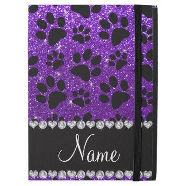 """Custom name indigo purple glitter black dog paws iPad pro 12.9"""" case"""