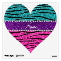 Custom name neon hot pink turquoise zebra stripes wall ...