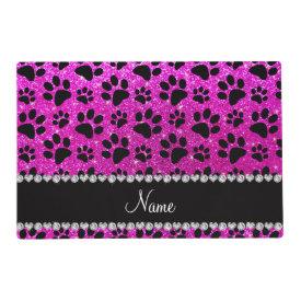 Custom name neon pink glitter black dog paws laminated placemat