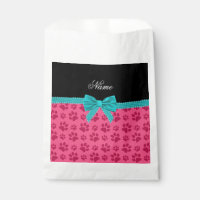 Custom name pink dog paws turquoise bow favor bag