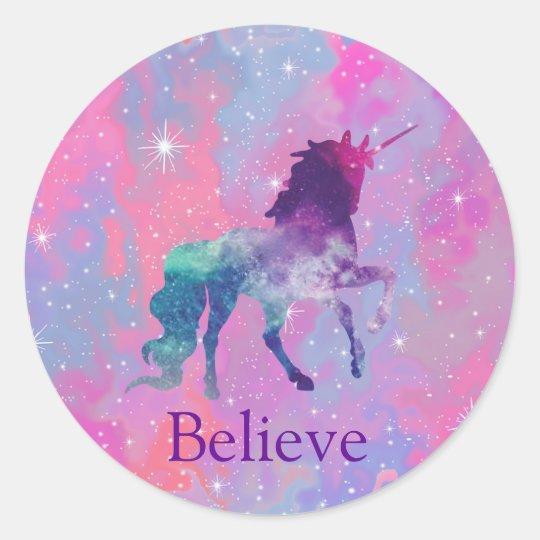 Custom Name PinkPurple Galaxy Unicorn Sticker