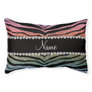 Custom name rainbow glitter tiger stripes small dog bed