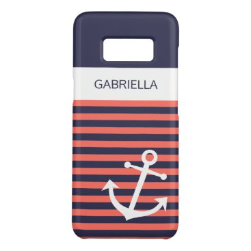 Custom Nautical Anchor Living Coral Stripe Pattern Case-Mate Samsung Galaxy S8 Case
