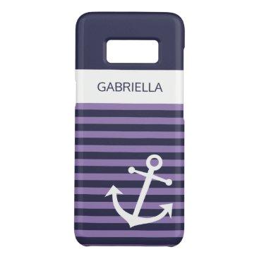 Custom Nautical Lavender Purple Striped Pattern Case-Mate Samsung Galaxy S8 Case
