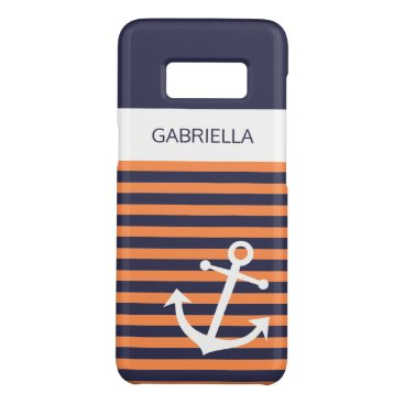Custom Nautical Light Orange Striped Pattern Case-Mate Samsung Galaxy S8 Case